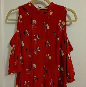 ASOS Red Flower Cold Shoulder Dress